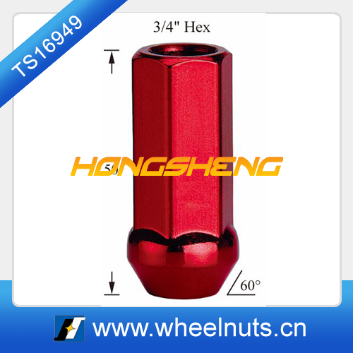red 19mm hex bulge open end wheel nut