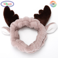 F380 Cute Deer Plush Hat Headband Hair Loop Elastic Coral Fleece Hair Band Fur Hat Animal Ears
