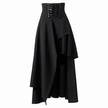 2017 womens steampunk gothic black long skirt