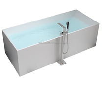 K-C04 Sanitary Ware White Stand Alone Solid Surface Stone Resin Bathtub, Matte vertical bathtub