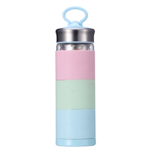 NEW special handmade high Borosilicate heat resistant glass cup rainbow water bottle for school and office use