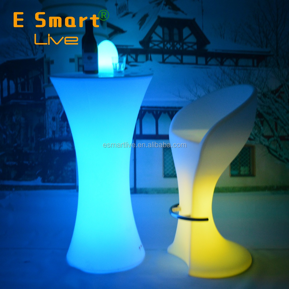 High Quality Glow Color Light LED bar Cocktail Table,outdoor bar LED flashing table with ice bucket