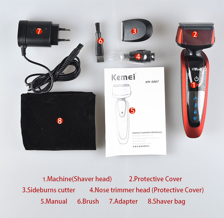 Kemei KM5889 Triple Blade 3 in 1 Multifunction Shave Razor for Man with Nose Trimmer and Sideburn Cutter