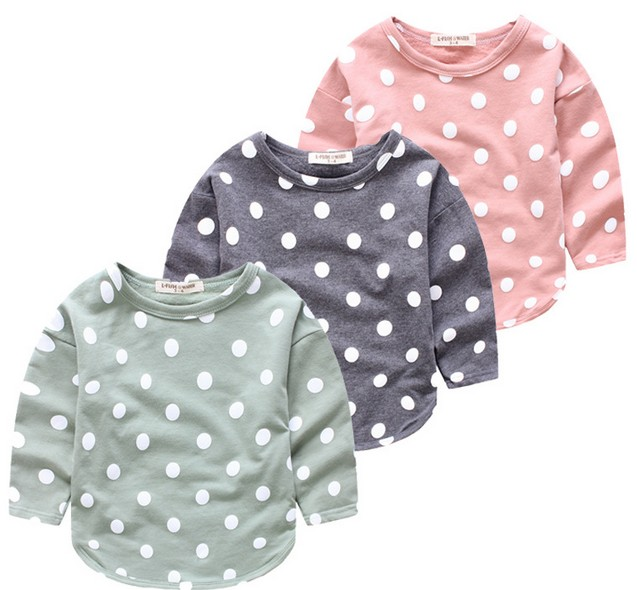 2016 Autumn New Style Dot Printed Kids Boy T-shirt Long Sleeve Cotton Soft Top Q0099