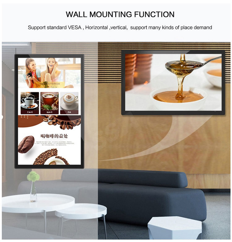 32 inch super slim wall mounted touch screen android/windows digital signage advertising player