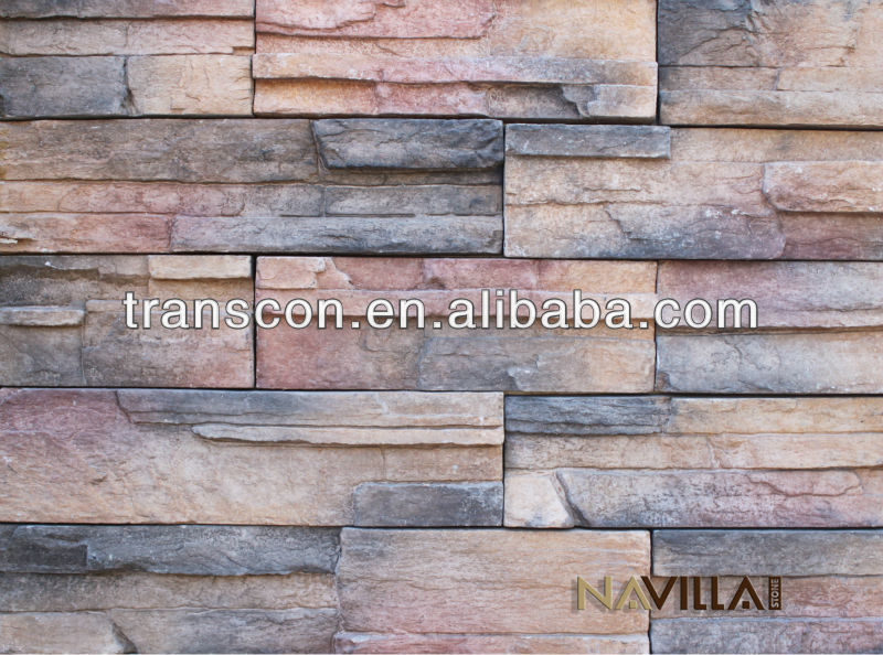 Mix Color Artificial Thin Slab stacked stone coating for wall