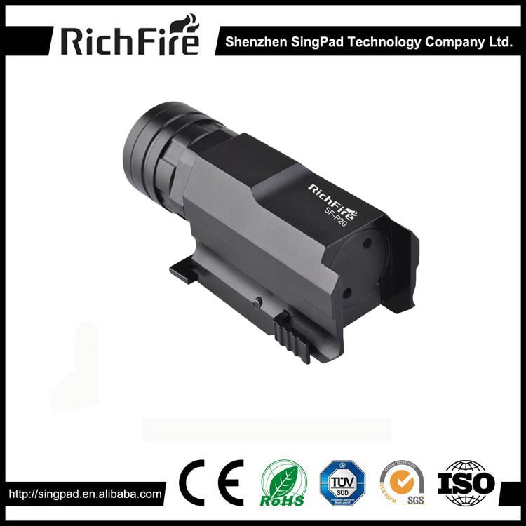 zoom adjust pistol flashlight 300 Lumens, Cr ee R5 LED flashlight with Quick Release gun mount base for pistol