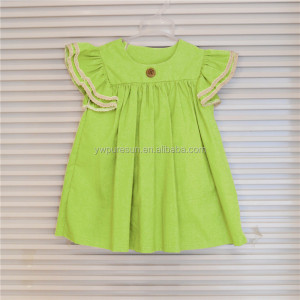 Eco-friendly cute design baby girl's flutter sleeve dress