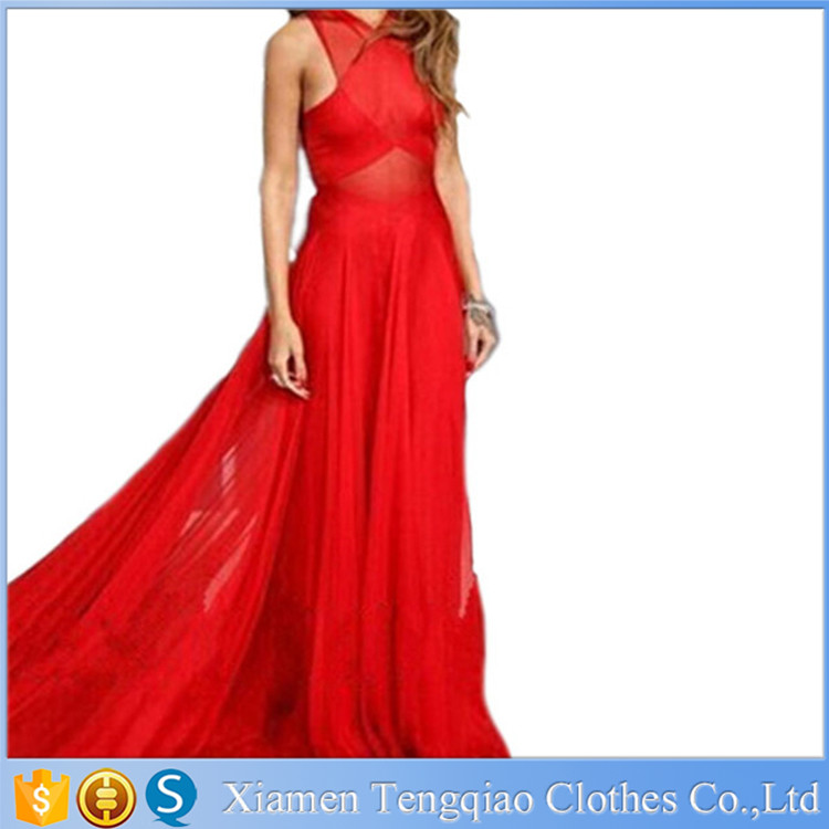 2015 Wholesale New Women's Latest Evening Dresses Front Criss-Cross Backless Chiffon Prom Gown Long Red Pleated Evening Dress