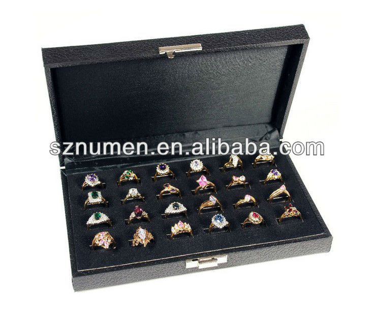 24 slot ring tray display Jewelry case Travel box case
