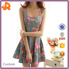 2016 Women Apparel Printed Sleeveless Cowboy Flower Girl Dress Patterns Made In China