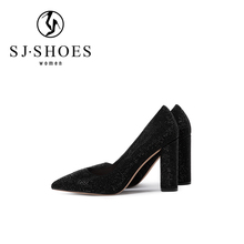 D679 sexy sparkly black chunky block high heels women shoes