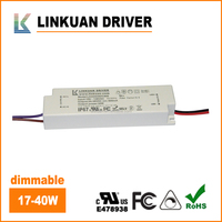 FCC UL CUL TUV LED IP65 waterproof triac dimmable variable dc power supply 600-1000mA 40w