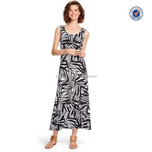 Black and white women's useful exported casual beach summer tank maxi dress