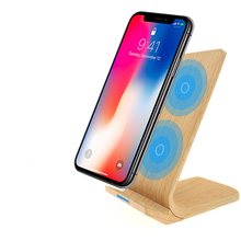 portable mobile cell phone charging stand pad universal wood qi fast wireless charger for samsung for iphone
