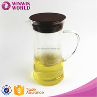 Clear Glass Water Jug Milk Jug With Color Silicon Lid