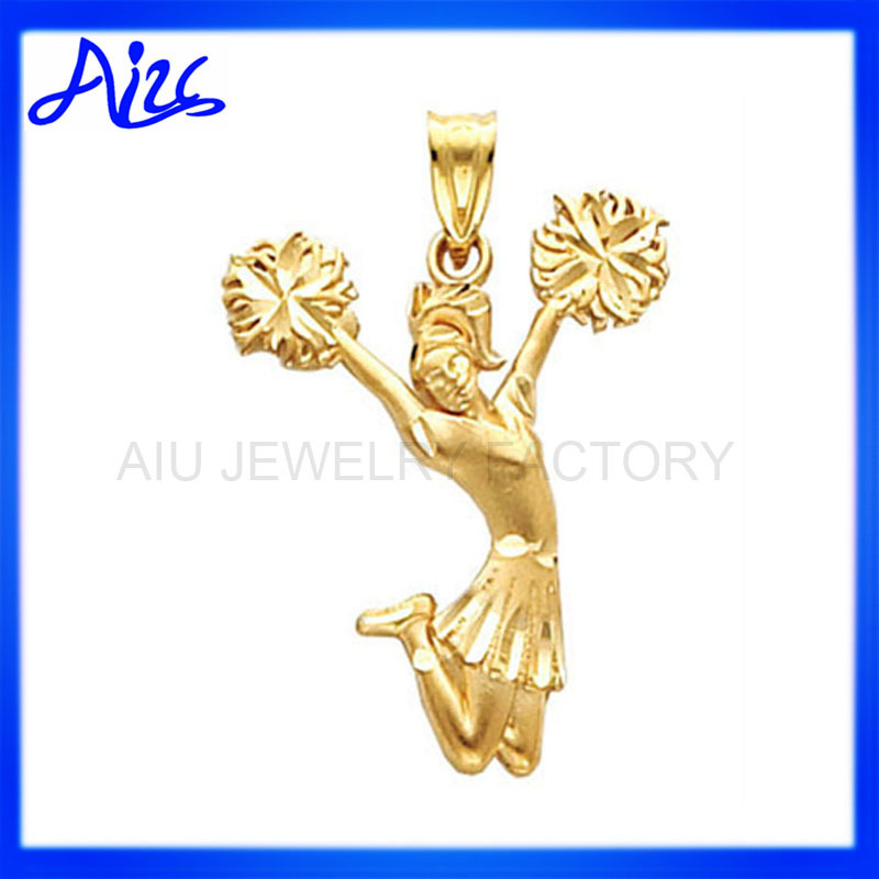 yellow gold cheerleading gymnastics gift charms