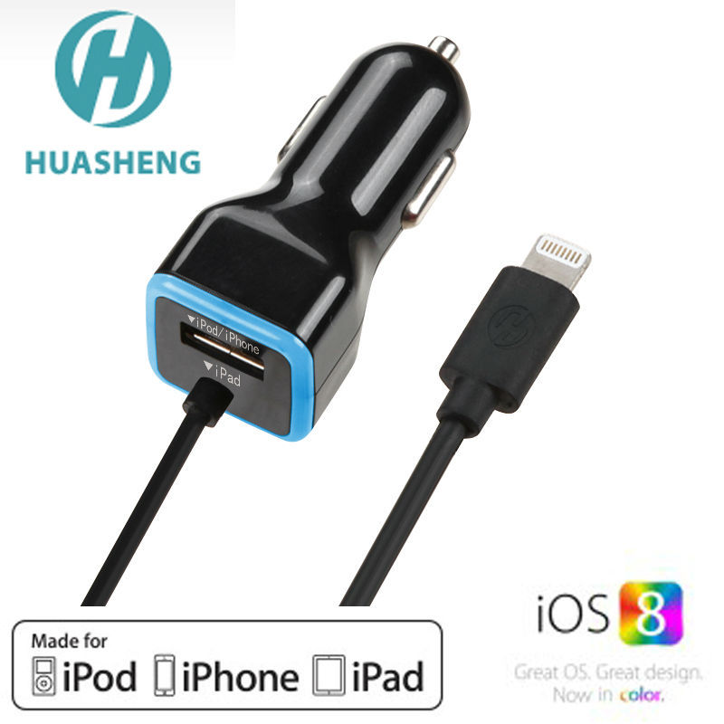 MFi 8 Pin charger Cable with 17W 3.4A 1 Port USB Car Charger Power Adapter for iPhone iPad for Samsung mobile phone