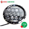 Hot hi low beam round 7inch 75w led headlight with daytime running light