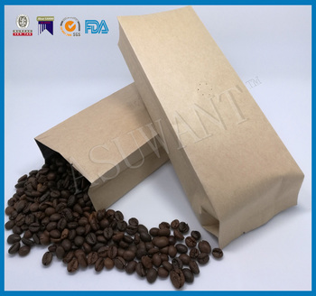 Moistureproof custom side gusset paper pouch for coffee bulk FDA-Approved