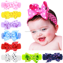 haoxie brand yiwu wholesale baby's elastic headbands Children's Headwear ribbon satin Hair bands crochet