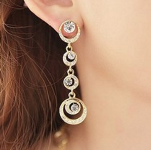 Hot new fashion and beauty bridal accessories imitation jewelry wholesale diamond full circle earrings