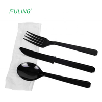 Hevy weight ps cutlery kit tenedores black disposable plastic spoon and fork