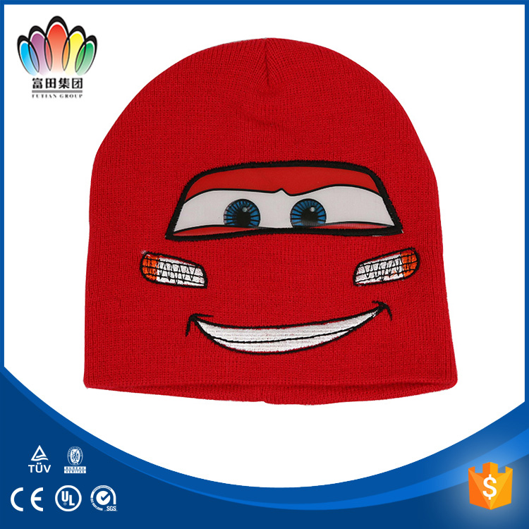 FT FASHION Smile Face Pannter Winter Embroidery Hat, Children's Knitted hat,Red