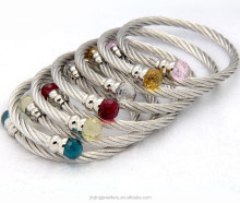Hot sale adjustable cheap stainless steel twisted cable cuff bangle bracelet