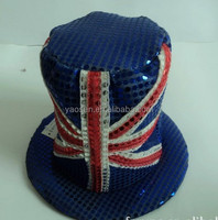Fashion Blue Sequin English top hat
