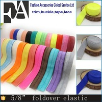 "Factory supply Wholesale Custom Colored 5/8"" Fold Over Elastic"