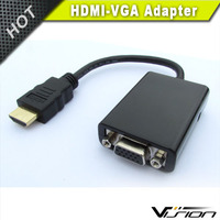 1080P HDMI Male to VGA Female Converter Adapter with 3.5mm Audio for Computer TV Black