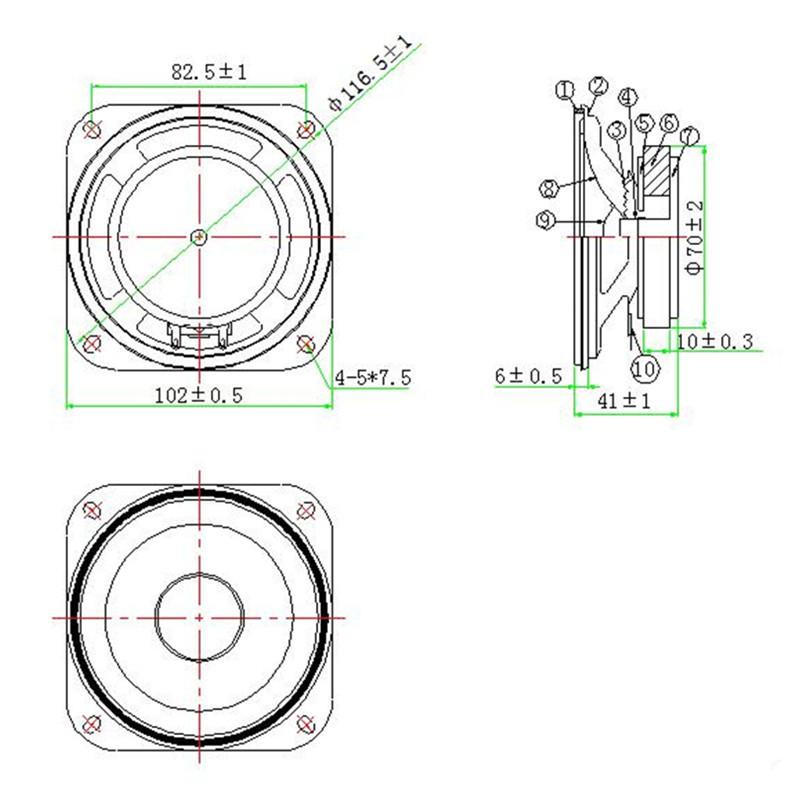 ls102w 20 w 4ohm  102mm 4 pulgadas 70mm magn u00e9tico de