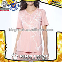 Wholesale Jiangxi manufacturer ladies sleepwear 100% cotton collar open fork knit women nightshirts