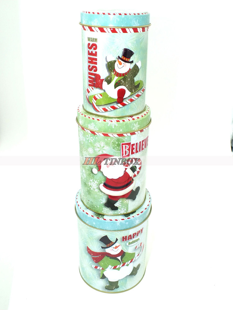 Round Set of Three ChristmasGift Tin Can Tin Box