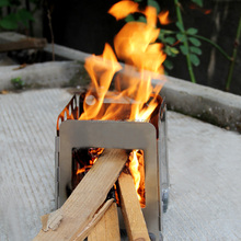 Pocket Lightweight Stainless Steel Folding Wood Stove Outdoor Camping Alcohol Stove Cooking Multi Fuel Outdoor Recreation Stove