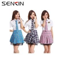 Middle and High School Uniform With Grid Skrit Sex school Girl Uniform OEM