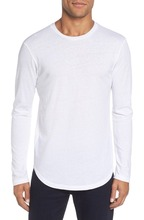 Scoop Neck Fit Men Long Sleeve Plain Blank White T Shirts
