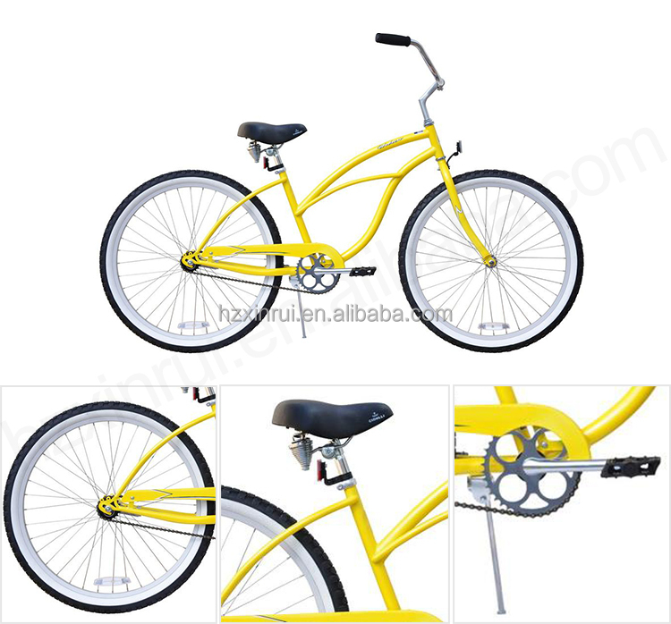 "26"" Female Beach Cruiser bike Yellow cruiser bicycle beach chopper bike"