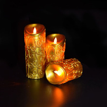 Decorative Carved Vines Dancing Wax LED Flameless Candles with spray paint