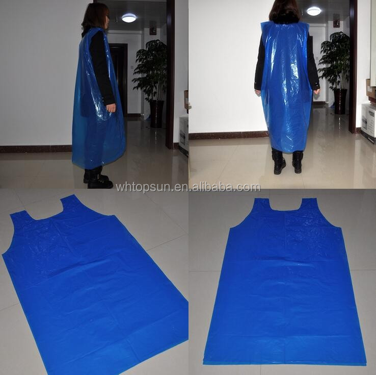 Dental medical Blue disposable plastic isolation gown