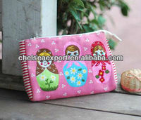 canvas printed with cartoon doll cosmetic make up bag with high quality and delicatedo manual work