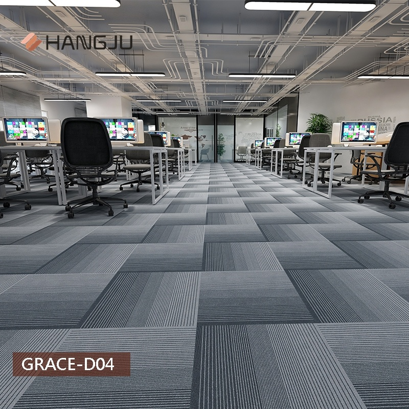 Stocks Strip Line Commercial Office Carpet Tiles with PVC Backing New Design Shanghai Hangju Grace-D series