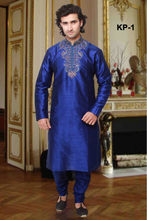 Blue Kurta Designs for Men with Heavy Work on Collar