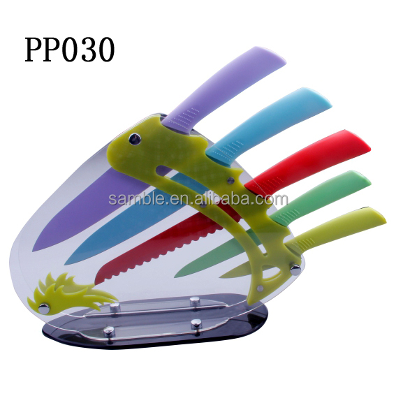 6pcs deluxe kitchen knives set with acrylic block