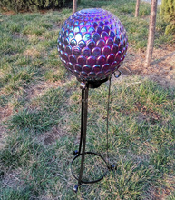 glass gazing ball with metal stand
