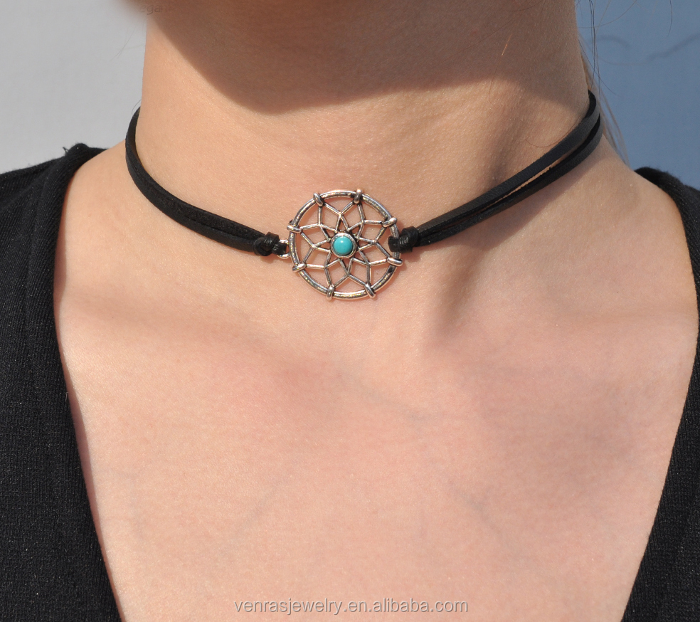 Black PU Leather Turquoise Dream Catcher Charm Choker Necklace for Girls Fashion Accessories