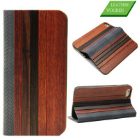 Corn leather cover for iphone 6,mix woods real leather for iPhone 6 case wallet