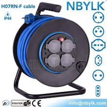 4x16A sockets Germany IP44 rubber Cable Reel, Schuko H07RN-F rubber extension cord reel 40m