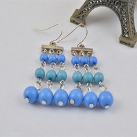 E2624-01Bubble Tassels Earrings Round crylic Beads Dangle Hook Eardrop